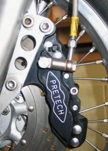 Pretech six pot caliper mounted on a Honda CB750 four.