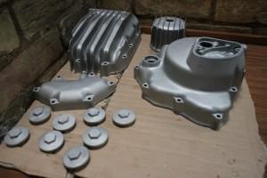 restored aquablasted Honda CB400 cases