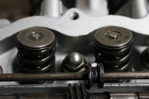 Honda CB400 valve springs and cups in engine