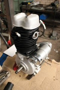 Refurbished BSA C11 1939 engine amongest other restored parts.